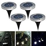 YUMOMO 4pcs kegelförmige Solar-Garten-Licht 2 LED, neuer Entwurf für im Freien Treppenhaus, wetterfest (warmweiß)
