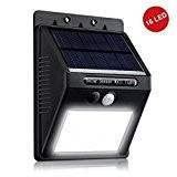 ZEEFO 16 LED Solarleuchte Garten , wetterfeste solarbetriebene LED Lampe mit Bewegungssensor Wandleuchte solarlampe Mehr Sicherheit für Innenhöfe, Balkone, Terrassen, ...